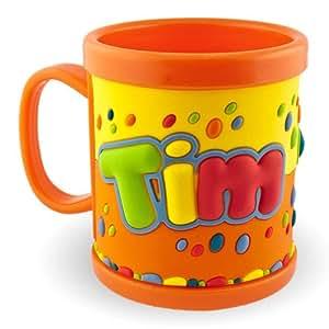 Mon nom Tasse 3D Mug Tim Orange pour les enfants en plastique tasse gobelet