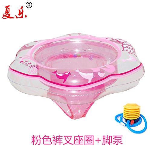 PinWei_ Bambini piscine bugia bambino nuotata Boa ABC infantile bambini sul cerchio sotto il sedile di braccio,Pantaloni rosa forcella sedile + pompa a pedale