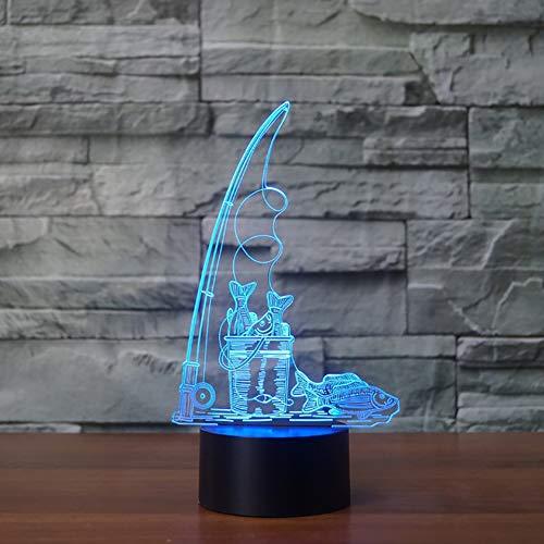 wangZJ 3d Visuelle Täuschung Lampe / 7 Farben Fernbedienung Touch/Optische Täuschung Lichter/weihnachten Kinder Geschenk/Angeln Fisch -