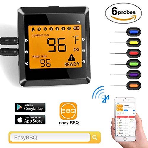 Digital Thermometer Küche, Migvela Grillthermometer mit 6 Fühler, Bluetooth Fleischthermometer Funk Bratenthermometer mit Temperaturalarm, APP Steuer mit 100M Reichweite, Wireless BBQ Thermometer Set für Smoker, Grillen, Backen, und Kochen - Individuelle Kaffee-pakete