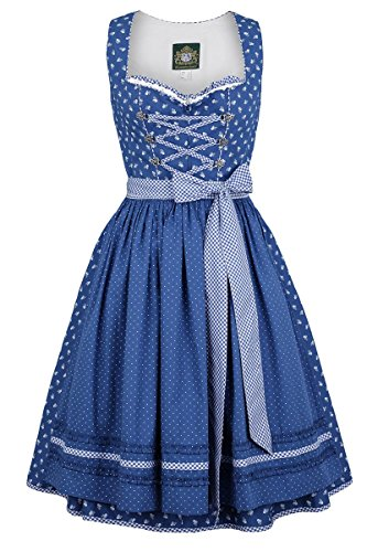 Damen Hammerschmid Baumwolldirndl kurz blau, blau, 34