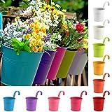 Cozywind 10pcs Macetas Colgantes de Colores, Metálicos Maceteros Exterior para Plantar Pequeñas Plantas, Decoración Jardin Balcón