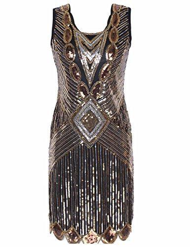 (kayamiya Damen 1920er Pailletten Perlen Zurück Tiefer V Gatsby Flapper Abendkleid XL Luxus-Gold)