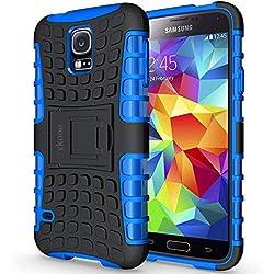ykooe Galaxy s5 Coque,s5 Coque (Armor Séries) Silicone Anti Choc avec Béquille Housse Etui pour Samsung Galaxy S5 (Bleu)