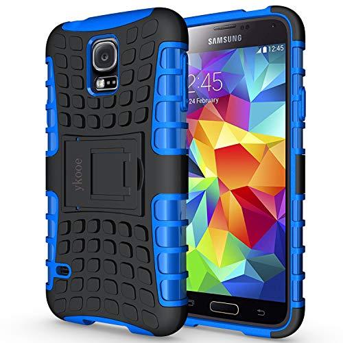 galaxy s5 schutz ykooe Galaxy S5 Hülle,S5 Hülle (TPU Series) Dual Layer Hybrid Handyhülle Drop Resistance Handys Schutz Hülle mit Ständer für Samsung Galaxy S5 (Blau)