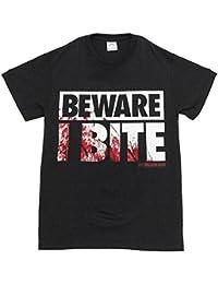 The Walking Dead Beware I Bite Reversible Mask Noir T-Shirt | M