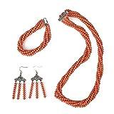 Lan Ou Collana Orange Wrap Style Chic Parametro di Specifica Synthesis Red Orecchini con Bracciale E Bracciale in Corallo Rosso