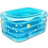 LZTET Rechteckiges Aufblasbares Familien-Pool Faltbare Wanne Aufblasbare Babys Schwimmbad Neugeborenen Nach Hause Isolierung Innen überdimensionaler 120x105x75cm,Blue