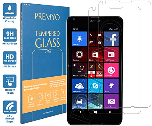 PREMYO [2 Piezas] cristal templado Lumia 640. Protector cristal templado Lumia 640 con una dureza de 9H, bordes redondeados a 2,5D. Protector pantalla Lumia 640