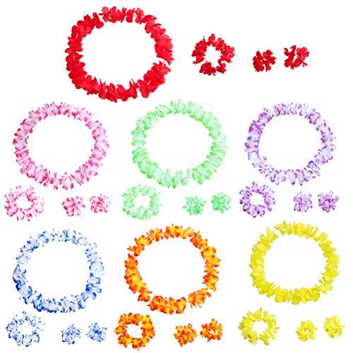BESTOYARD 7 Sets Hawaiian Leis Tropische Blume Halskette Kranz und Armband Hawaiian Luau Beach Party Supplies