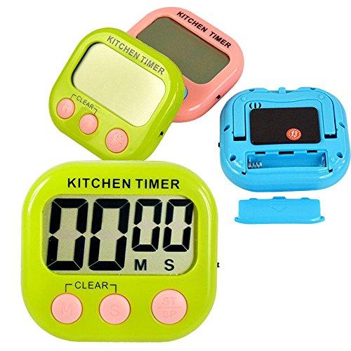 Küche Timer, elektronischer Timer Wecker von Sunshine D Wanduhr Küche magnetisch Timer LCD Display für Kochen Digital 24hourstimer Countdown Memory Stoppuhr grün