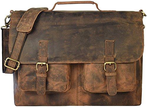 KK 's 45,7cm Zoll Retro Buffalo Hunter Leder Laptop Messenger Bag Büro Aktentasche College Tasche Leder Tasche für Damen und Herren (Laptop-tasche Leder Tasche)