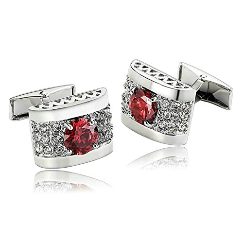 Aooaz Gioielli gemelli acciaio uomo Gemelli rettangolari decorati rettangolari con zirconi ad arco rossi gemelli camicia uomo matrimonio Rosso