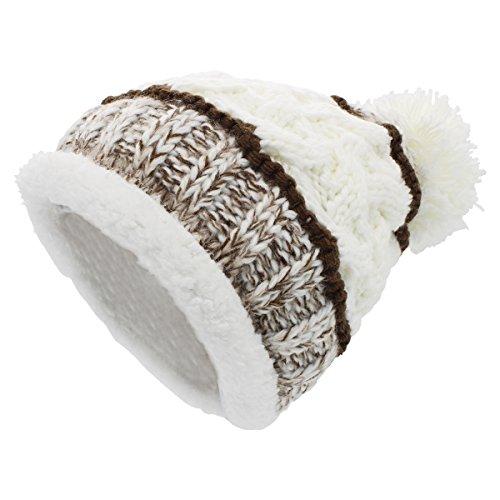 Sombreros de punto para las mujeres - YOPINDO Girls Beanie Hat lana de invierno de invierno de esquí al aire libre Snowboard Bobble hemming sombreros Gorra con lindo Big Ball Pom Pom (Blanco 1)