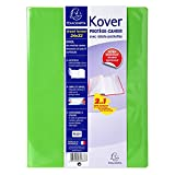 Exacompta 032633W Protège cahier Kover opaque en PVC double épaisseur avec rabats pochettes et étiquette adhésive format 24x32 cm Vert