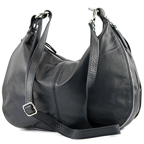 modamoda de �?italiano Borsa in pelle borsa a tracolla borsa donna borsa a tracolla in nappa T56 Nero/Blu