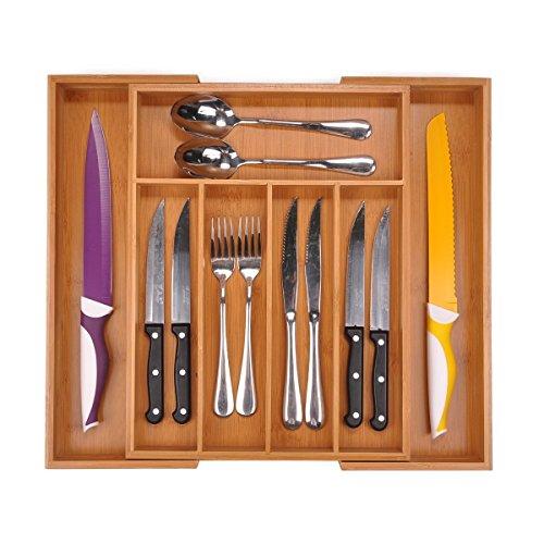 Utoplike Bamboo Extendable Cutlery Organizer Tray: Holds Silverware, Flatware, Utensils, Cutlery, Accessories or Gadgets Size:29.2-45.7cm W X 38.1cm d X 5cm