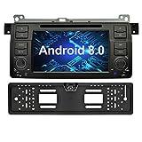 Ohok 7 Zoll Bildschirm 1 Din Autoradio Android 8.0.0 Oreo Octa Core 4G+32G Radio mit Navi Moniceiver DVD GPS Navigation Unterstützt Bluetooth DAB+ für BMW 3 Series E46 / BMW M3 mit Rückfahrkamera