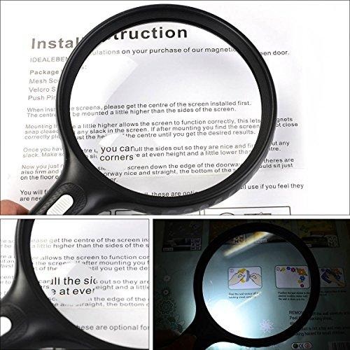 Lupe mit Licht, 3 LED Lupe Led, 140mm Lupe Groß 2X 5X Vergrößerungsglas-Leselupe für Senioren – Kratzfest-Handlupe zum Lesen, Inspektion, Hobby, Handwerk (Schwarz) - 3