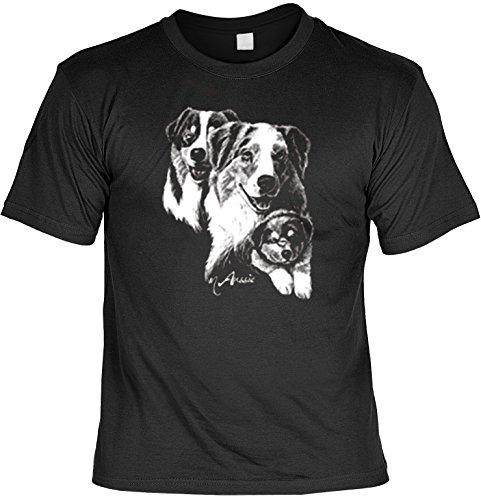 Dogs T-Shirt Aussi Hunde Australian Shepherd Motiv Hunde Shirt Hundesport Agility Dog Sport Laiberl Leiberl Geschenk für Hundebesitzer (Shepherd Dog Australian T-shirt)