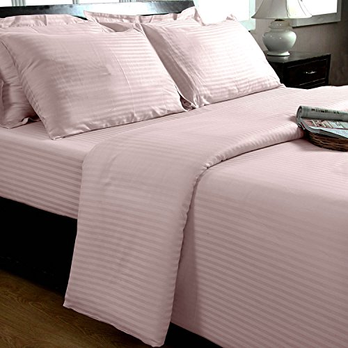 Homescapes 2 teilige Damast Bettwäsche 155×220 cm rosa 100% ägyptische Baumwolle Fadendichte 330