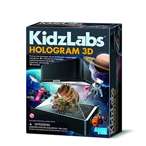 4M 00-03394 Mit KidzLabs-Survival Wissenschaft präsentiert Projektor im Science-Fiction-Design, der aus simplen, zweidimensionalen Papiervorlagen, dreidimensionale Hologramme zaubert, Bunt