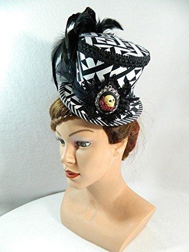 Midi Zylinder schwarz weiß Skull Damenhut Fascinator Hut