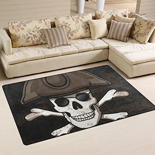 BENNIGIRY Pirat Skull Totenkopf Rutschfeste Bereich Teppiche Home Decor, Fußmatte Wohnzimmer Schlafzimmer Teppiche Fußmatten 78,7x 50,8cm, Polyester, Mehrfarbig, 31 x 20 inch