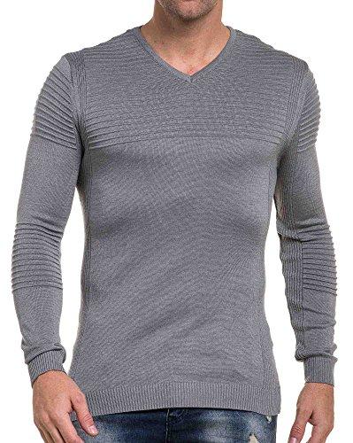 BLZ jeans - grau dünne Mann Pull gerippte V-Ausschnitt Grau