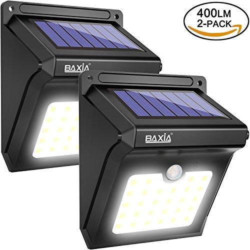 BAXiA Solarleuchten für Außen, 28 LED Solar Aussenleuchte mit Bewegungssensor Kabelloses Wasserdichte Sicherheitslicht für Gärten,Türe,Flur,Wege,Terrassen, Patio, Zaun(400 Lumen,2-Stück) (Led Outdoor-solar-leuchten)