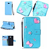 Sony Xperia M2 / M2 Case Leather, Ecoway 3D Fashion Handmade Bling Diamond Crystal Butterfly flower pattern PU Leather Stand Function Protective Cases Covers with Card Slot Holder Wallet Book Design Detachable Hand Strap for Sony Xperia M2 / M2 - sky blue