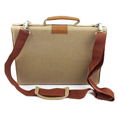 Venetto Businesstasche Umhängetasche Aktentasche Arbeitstasche Handtasche Herren Damen Unisex Filztasche Tasche aus Filz mit Schultergurt mit Echtleder-Applikationen (Schwarz meliert) Cappucino