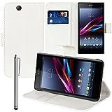VComp-Shop® PU-Leder Handy Brieftasche mit Kartenfächer und Video-Standfunktion für Sony Xperia Z Ultra XL39H + Großer Eingabestift - WEISS