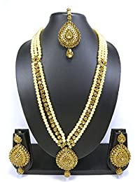 Rich Lady Traditional Party Wear Design Pearl LCT Stone And Kundan Long Necklace Set With Maang Tikka