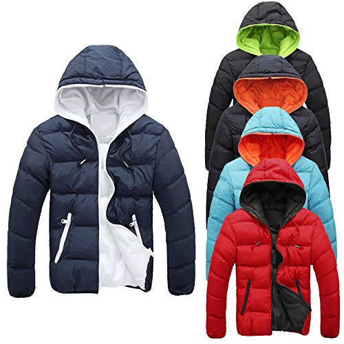 FEITONG Herren Slim Casual Warme Jacke Kapuzen Winter Dicken Mantel Parka Kapuzen Mantel - 5