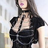 XWBO Damen Brust Harness Bra Body Brustgeschirr Neckholder Halsband Gothic Punk Kostüm Cosplay Leder Körper Bandage Hüftgurt (One Size, kette) - 3