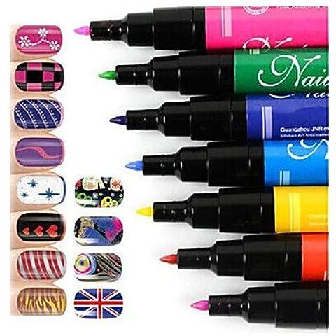 alallti Manicura Pintura Pincel Manicura Pen Pen Set Nail Art Pen DIY uñas Color blanco & negro & amarillo