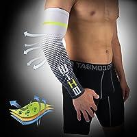 Demana 1 Paar Sport ellbogen Arm Kühlung Sonnenschutz Kompression Arm Ärmel für Baseball Basketball Golf Tennis Laufen Weiß M