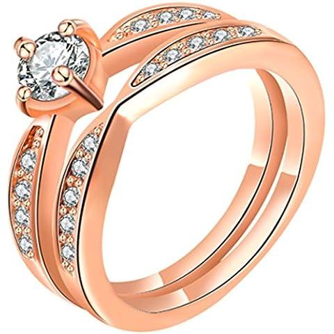 Da donna Platino/18/oro rosa cristallo placcato oro giallo 18pavimentazione set coppia anelli fidanzamento, 18ct rosa oro, 11,5, colore: platinum & rose gold, cod. 1010035240
