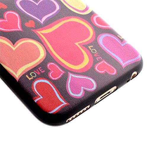 Uming® M buntes Muster Druck Detailzeichnung Weicher TPU Kasten Hülle Fall [ Black handprint | für IPhone 6 6S IPhone6S IPhone6 ] Shell Schutz Mobile Handy-Fall Abdeckung Tasche Soft Case Weich Cover  Colorful Hearts