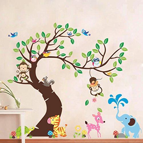 Zooarts búho monos elefante animal paraíso pared pegatinas adhesivos decor vinilo infantil guardería salón dormitorio mural