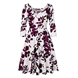 Frauen DREI viertel Sleeve Dress Damen Vintage Dress Druck floral eine Linie Casual Dress Party knielangen Dress Spring Moonuy