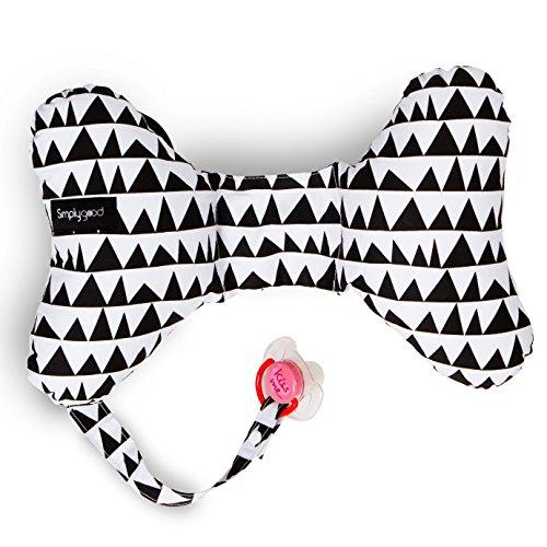 SimplyGood Schmetterling Nackenstütze Nackenkissen für Autositz Kinderwagen Reisekissen Kinder Mit Schnullerhalter (Geo Love schwarz auf weiß)