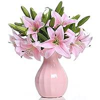 Veryhome, gigli artificiali in lattice per il bouquet della sposa o per la decorazione della casa, in confezione da 5 pezzi Pink