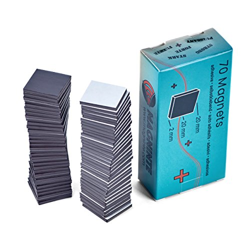 Magnete selbstklebend - 70 Magnetplättchen (2x2cm) - Stärke 2mm - für schwere Photos, Karton, Laminate, Folien besonders zuverlässig, starke Haftkraft - Takkis Magnet-Plättchen
