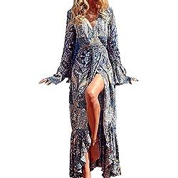 StyleDome Mujer Vestido Maxi Elegante Fiesta Algodón Floral Étnico Tribal Mangas Largas Cóctel Azul EU 44