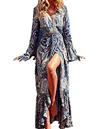 StyleDome Mujer Vestido Maxi Elegante Fiesta Algodón Floral Étnico Tribal Mangas Largas Cóctel