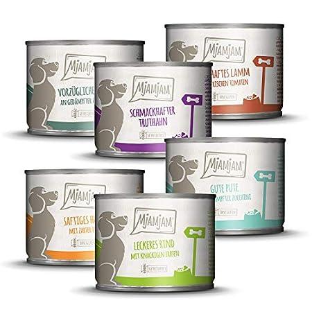 MjAMjAM – Premium Nassfutter für Hunde – Mixpaket II – mit Huhn & Ente, Rind, Pute, Kalb, Truthahn, Lamm, 6er Pack (6 x…