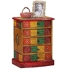 Theshopy Wooden Hand Made Hand Painted 5 Drawer Cabinet A527