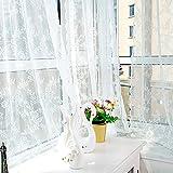 Proumy Vorhang mit Blumenmuster, Tüll, für Fenster, weiß, 180cm x 145cm